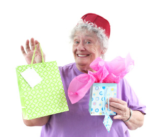 Christmas Shopping - Photograph of Older Lady