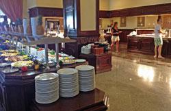 The hotel buffet breakfast